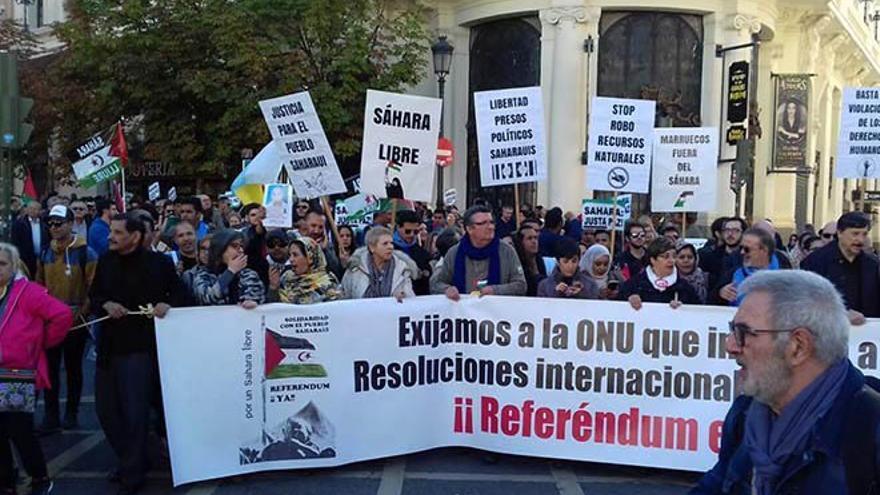 Manifestación en favor del pueblo saharaui.