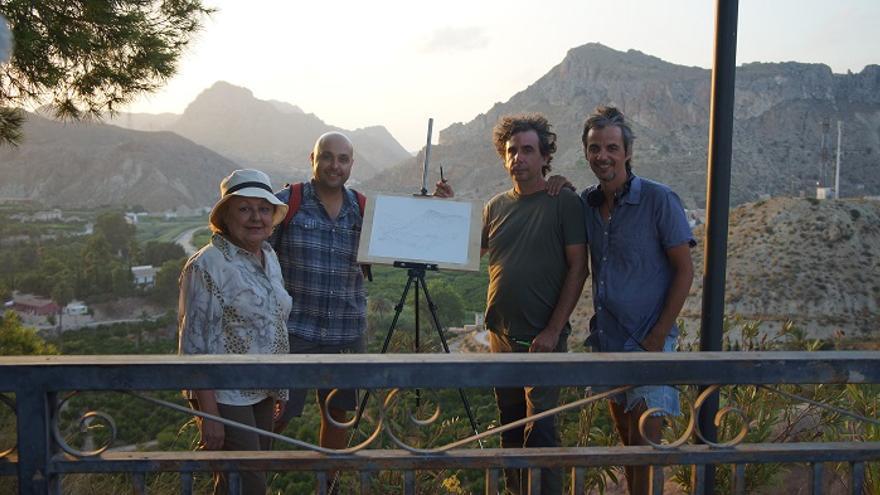 (De derecha a izquierda) el director de 'Desarraigo', Joaquín Lisón, junto a Juan Navarro, Jesús J. López y Pilar Gómez
