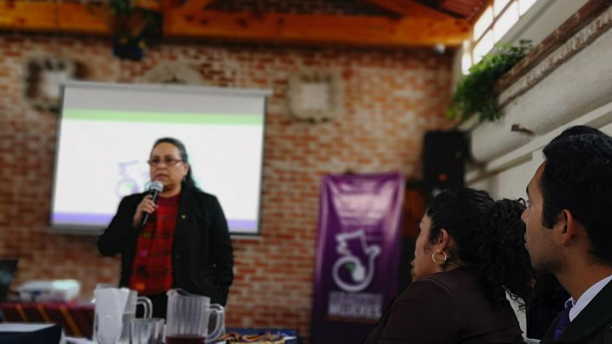 La diputada guatemalteca Sandra Morán (Convergencia), impartiendo un módulo en la Escuela Ciudadana de Mujeres, un espacio de formación para mujeres que busca el fortalecimiento de la participación política y ciudadana.