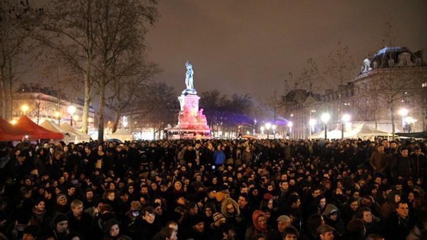 Plaza de la République, durante el movimiento Nuit Debout
