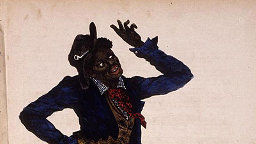 Imagen de 'Jump Jim Crow', un teatro musical popularizado en EEUU en el siglo XIX que ridiculizaba a los negros y que alcanzó tal fama que acabó dando nombre a las leyes de Jim Crow