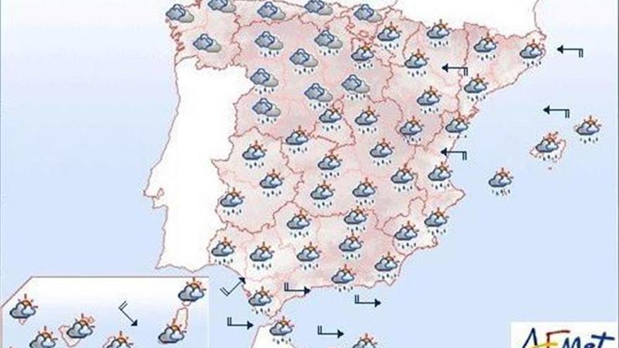 Hoy, precipitaciones fuertes en gran parte de península y Baleares