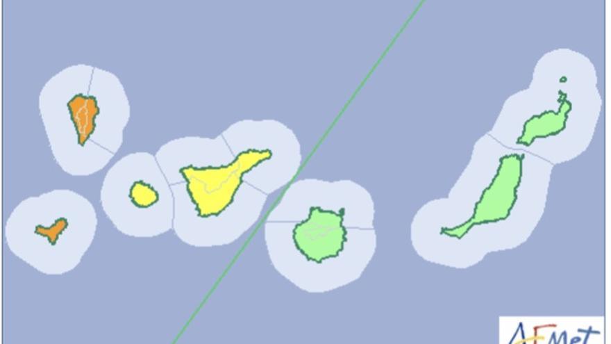 Mapa de la Aemet del aviso de riesgo por lluvia, viento y tormentas para este sábado, 25 de noviembre de 2017.