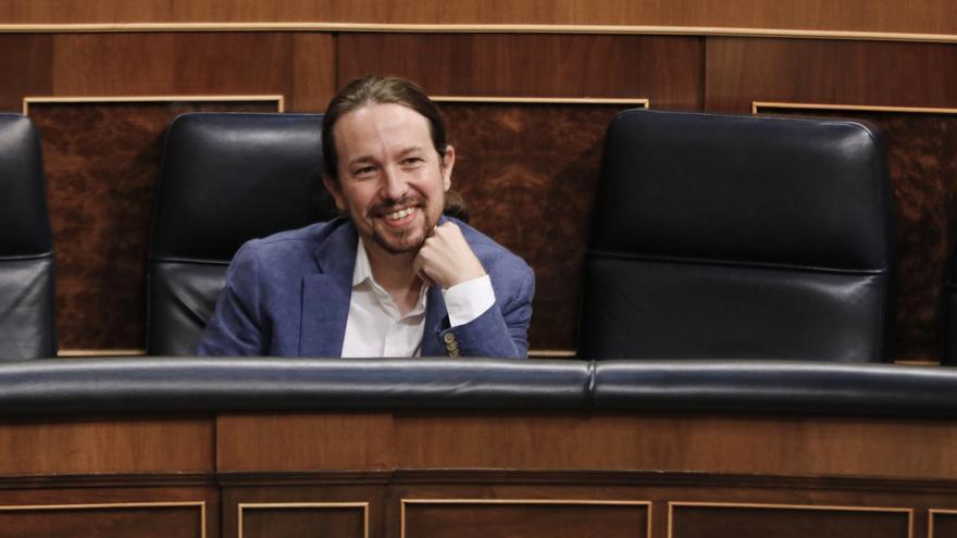 El vicepresidente segundo y ministro de Derechos Sociales y Agenda 2030, Pablo Iglesias, durante la penúltima sesión plenaria en el Congreso de los Diputados antes del paréntesis estival, en Madrid (España), a 22 de julio de 2020.