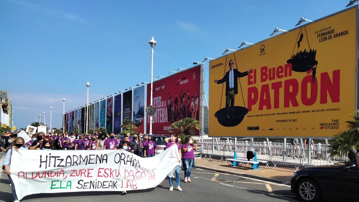 La manifestación de ELA y LAB en Donostia este jueves
