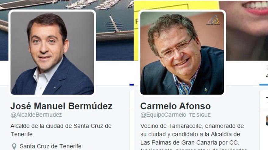 Cuentas en Twitter de José Manuel Bermúdez y Carmelo Afonso.