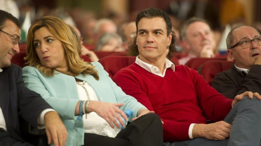 Susana Díaz y Pedro Sánchez en un acto de campaña en Málaga