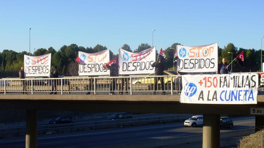Protesta de los trabajadores de HP contra los despidos en la AP7