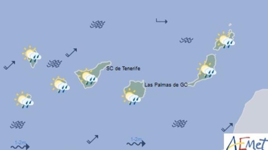 Mapa con la previsión meteorológica para este viernes, 28 de abril de 2017