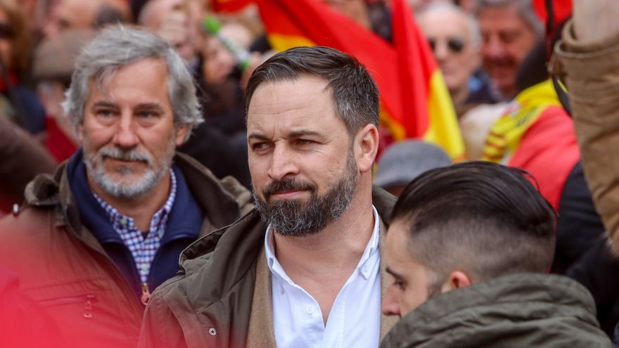 Santiago Abascal (Vox) en la concentración en la Plaza de Colón (Madrid) bajo el lema 'Por una España unida'