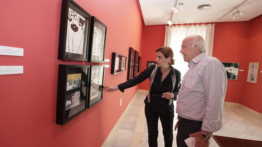 El candidato del PSOE a alcalde de Murcia, José Ignacio Gras, visitando el Museo Gaya