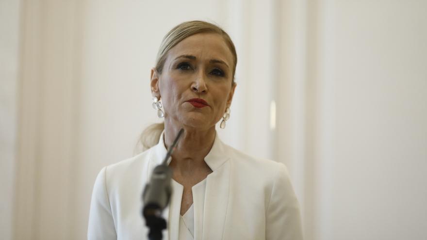 Cristina Cifuentes, durante la comparecencia en la que anunció su dimisión.