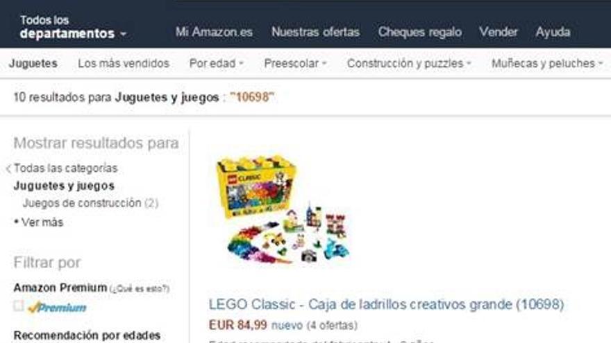 Captura del precio a la venta de un juguete el 2 de diciembre de 2015.