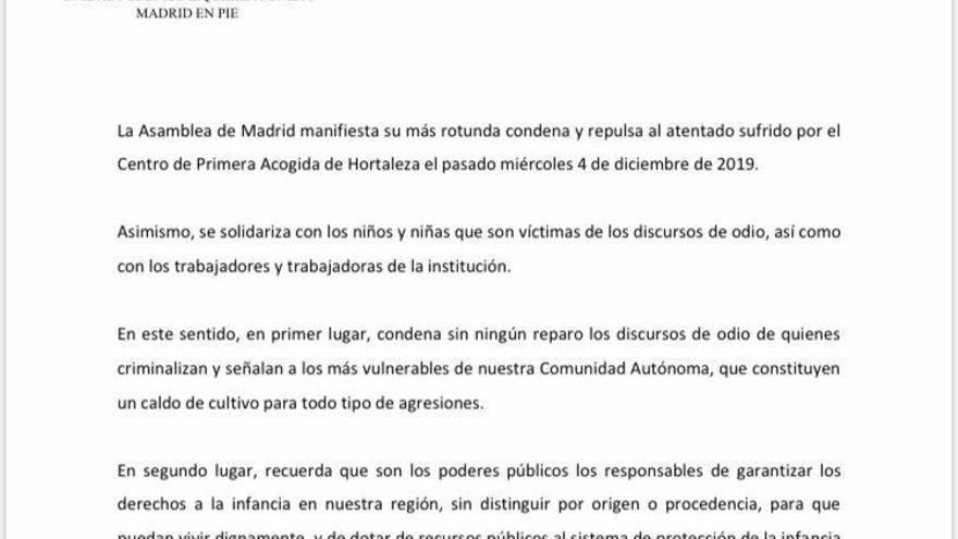 Propuesta de declaración institucional de Unidas Podemos.