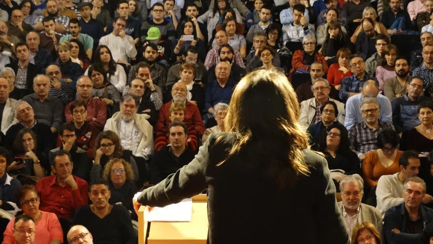 Mónica Oltra cierra la presentación de la campaña de Compromís y Podemos.