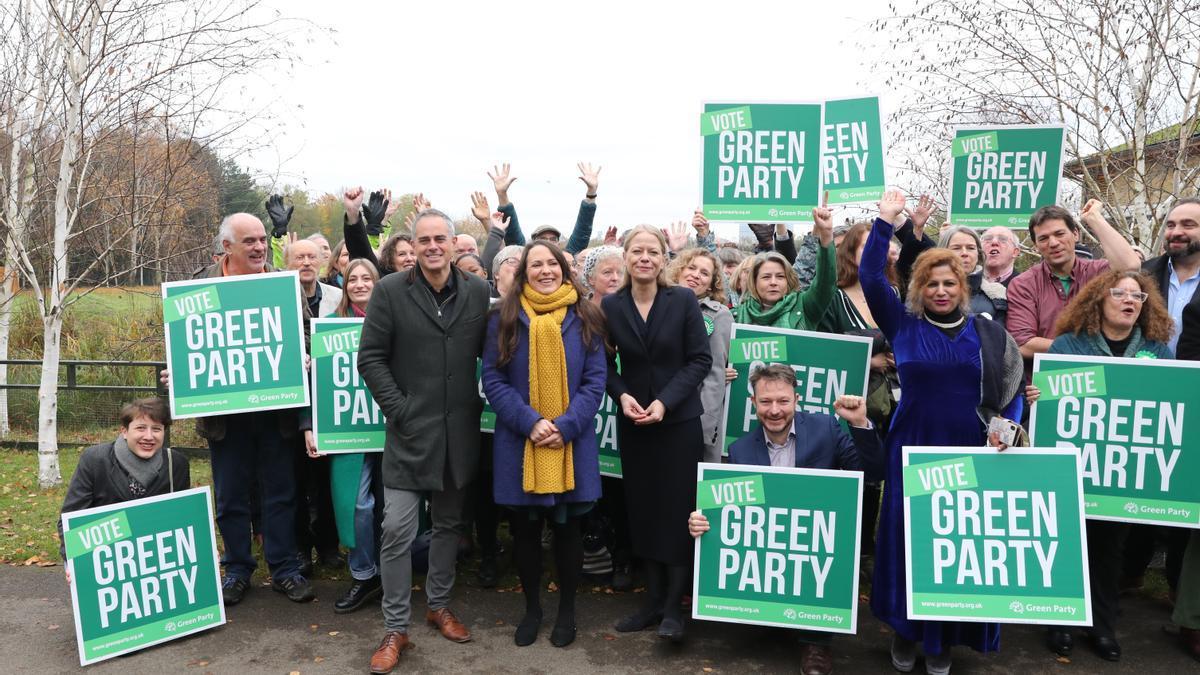 Los líderes del Partido Verde, Jonathan Bartley y Sian Berry, durante un acto de campaña en 2019