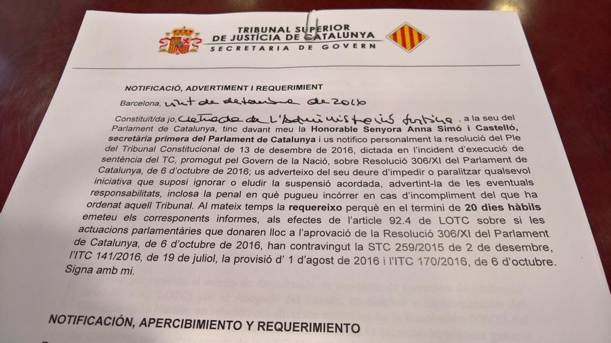 El TSJC notifica a la Mesa del Parlament la investigación por la resolución del referéndum