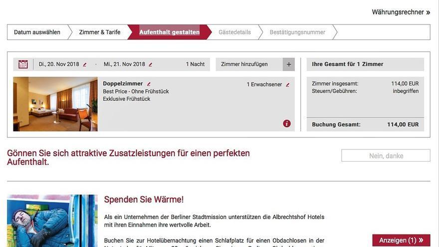 Página web de la la cadena de hoteles Albrechtshof en la que se puede donar una habitación para una persona sin hogar