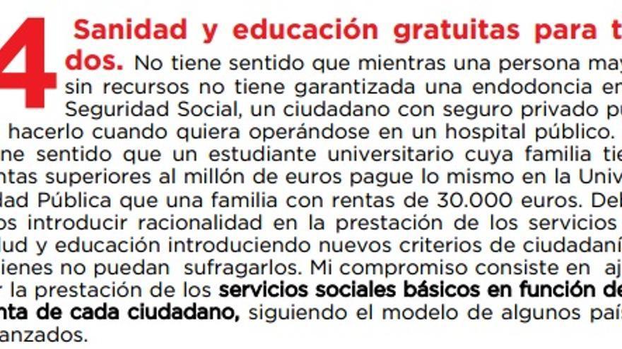 La primera versión de la propuesta de Sánchez, recogida en el PDF descargable de su web