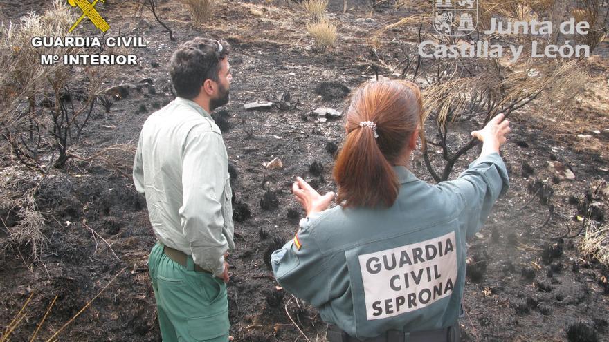 La Guardia Civil investiga a dos personas por el incendio forestal ocurrido en los montes de Paradilla de Gordó