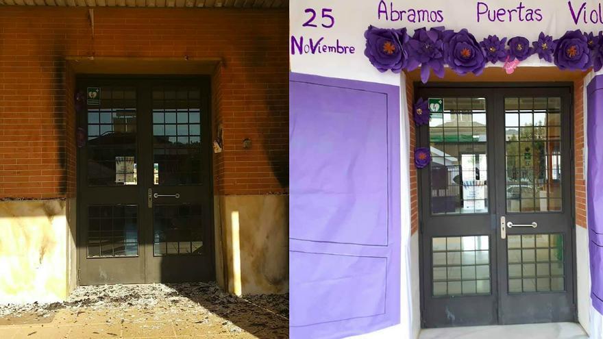 El acceso al centro educativo atacado, y con el mural colocado hace unos días.
