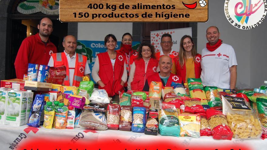 Alimentos y los productos de higiene donados por la sociedad palmera en las diferentes iniciativas desarrolladas por el Colectivo  Escuelas Unitarias de la Zona Este de La Palma (CUZE).