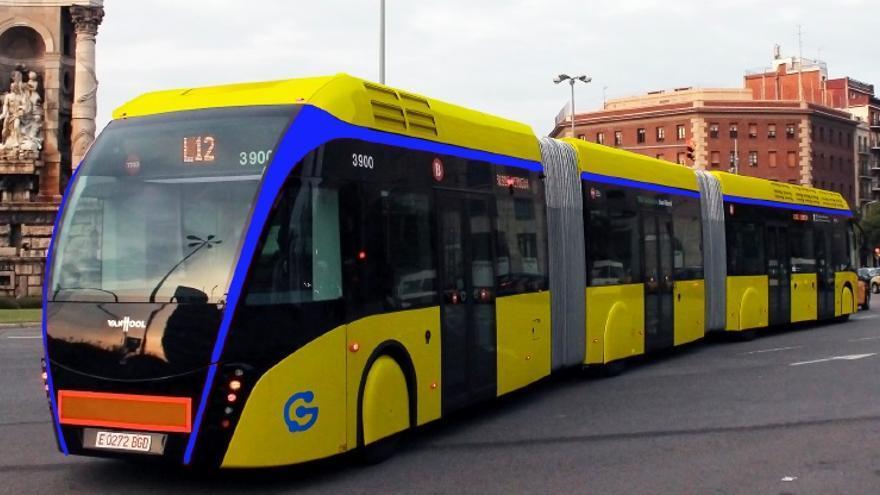 Recreación del sistema rápido de guaguas presentado por el Ayuntamiento de Las Palmas de Gran Canaria.
