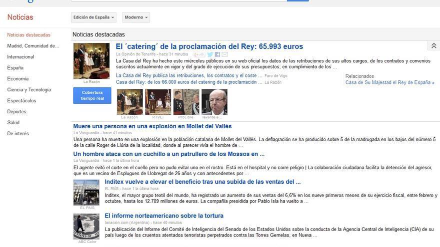 Home de Google News España