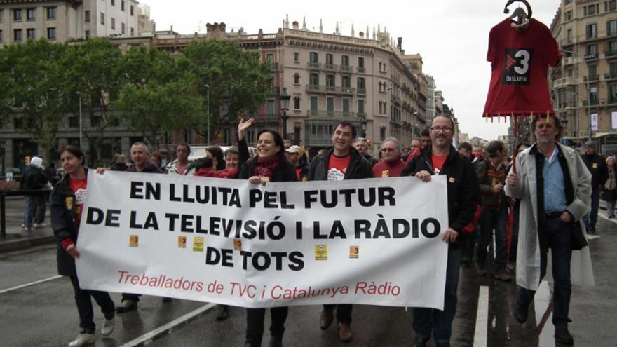Manifestación de los trabajadores de TV3.