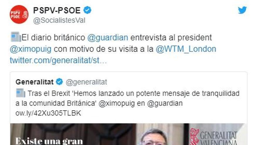 El PSPV promociona la aparición de Ximo Puig en The Guardian