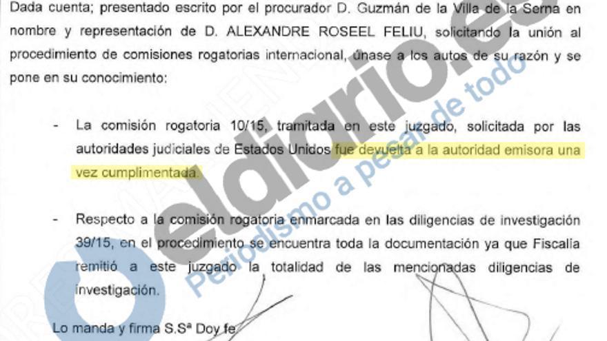 Providencia de la magistrada Carmen Lamela.