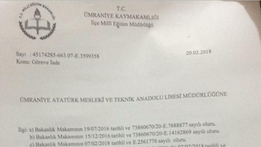 """Documento del Ministerio de Educación con el asunto """"devolución al puesto de trabajo"""""""
