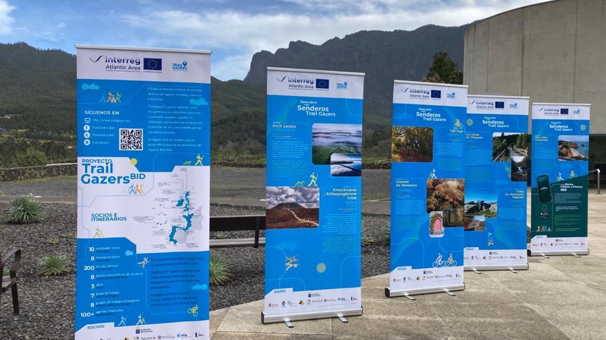 Exposición itinerante del proyecto europeo Trail Gazers Bid, el pasado martes, 6 de abril, en el Centro de Visitantes del Parque Nacional de La Caldera de Taburiente