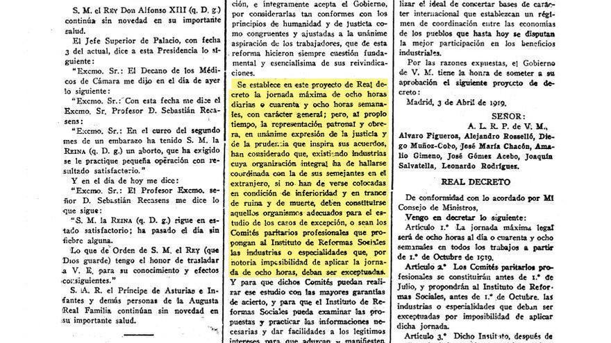 Decreto de la jornada de ocho horas, firmado por Alfonso XIII