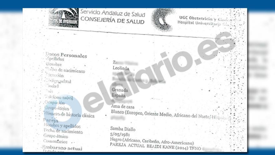 Certificado médico del alta de la pareja de Baidy tras el nacimiento de su hija, en el que aparece el nombre del senegalés.