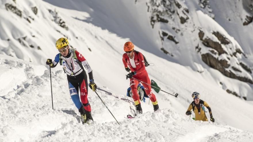 Kilian Jornet en la prueba Individual celebrada en Les Marécottes, Suiza (© ISMF).