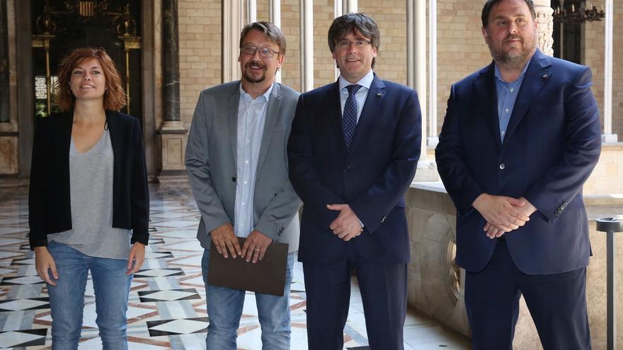 Encuentro entre Alamany, Domènech, Puigdemont y Junqueras en el Palau de la Generalitat