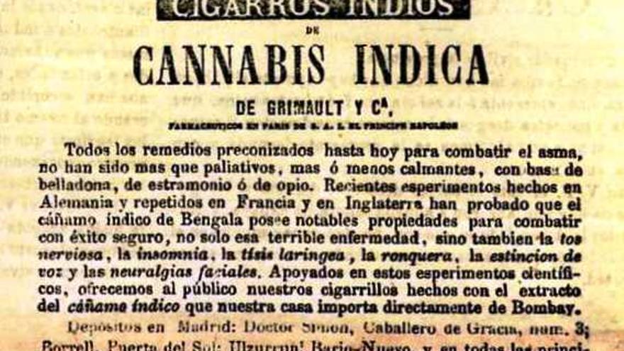 """Cigarrillos de cannabis """"importados directamente de Bombay"""" para combatir el asma o la tos nerviosa, en un anuncio de 'El Cascabel' del 28 de julio de 1870."""