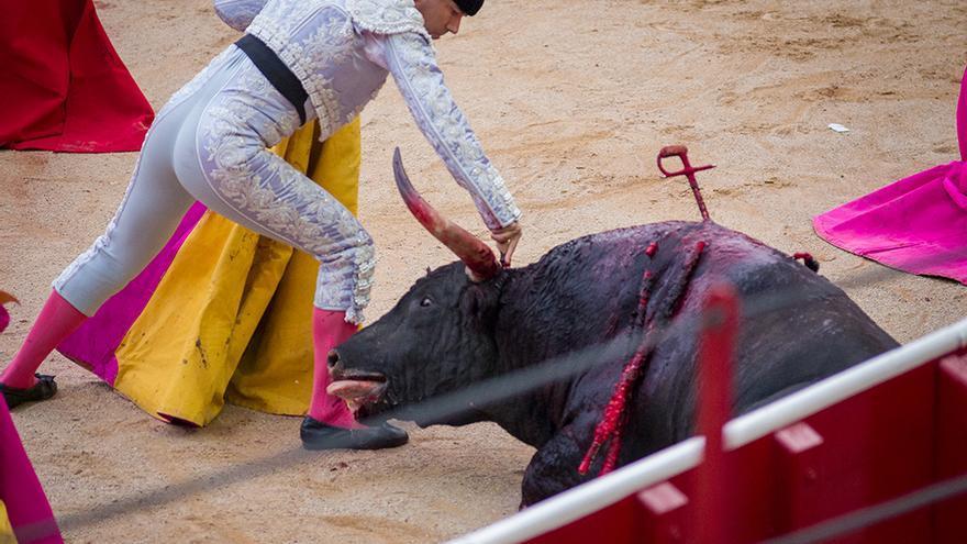Profesional de la tauromaquia ejerciendo en la plaza de toros de Pamplona. Sanfermines 2016. Foto: Colectivo Britches