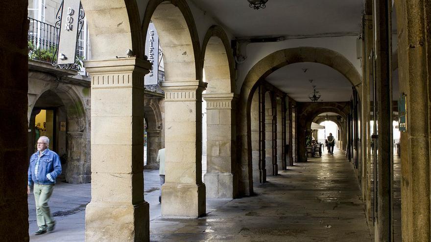 Soportales del casco histórico de Santiago de Compostela.