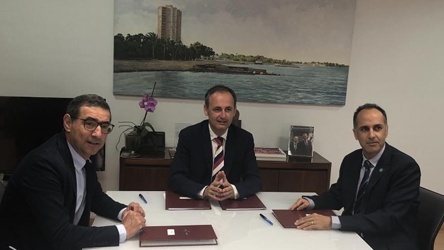 Los rectores de las universidades reunidos con el consejero de Empleo, Universidades, Empresa y Medio Ambiente, Javier Celdrán