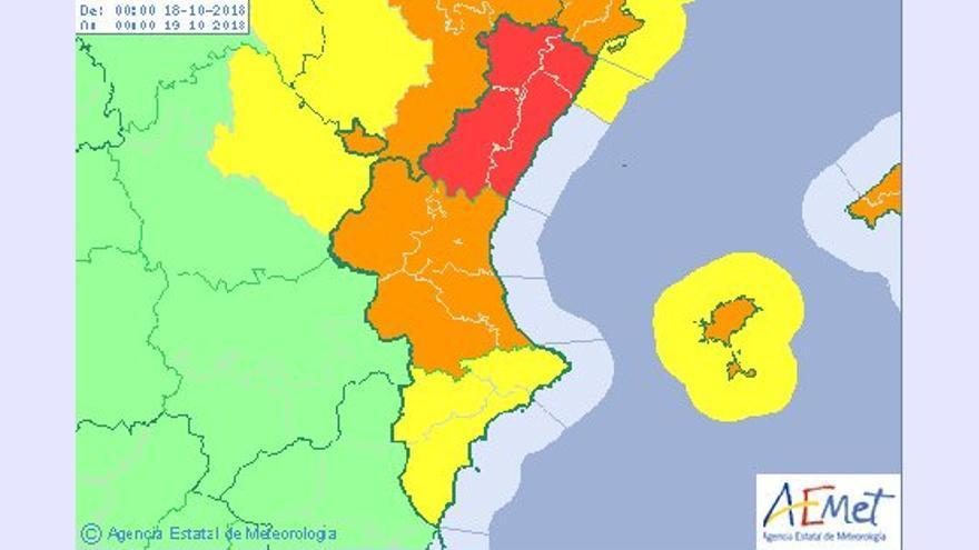 AEMET ha establecido la alerta roja en Castelló y la naranja en València