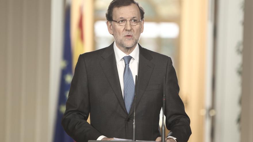Mariano Rajoy, durante la rueda de prensa en Moncloa. / Efe