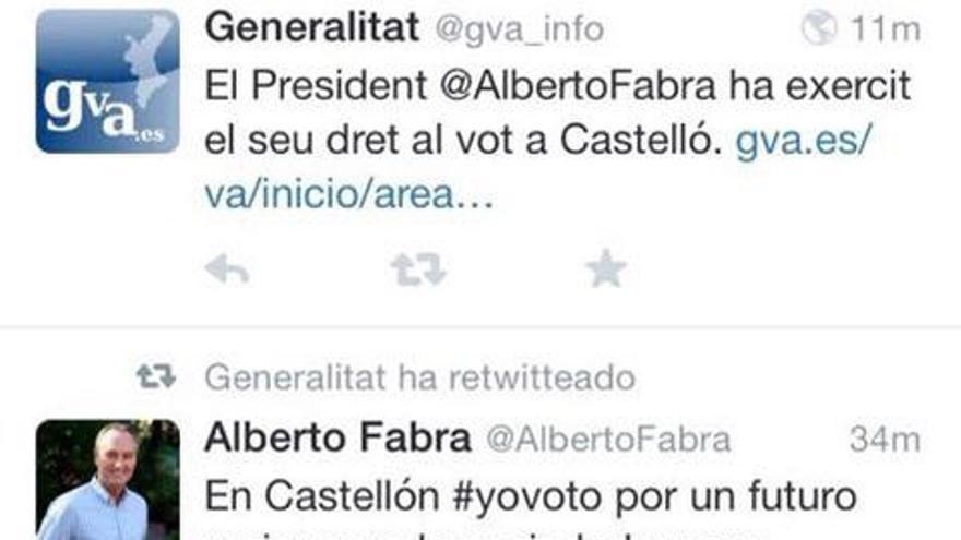 Tuits de Alberto Fabra y la Generalitat.