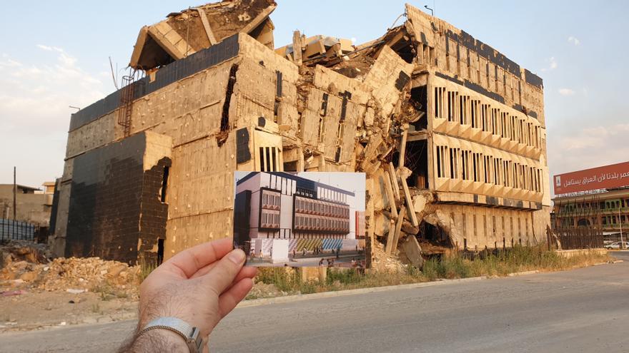 Imagen del Banco Central de Irak en Mosul, construido en 1974.