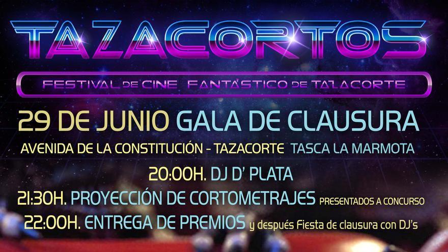 Cartel de la gala de clausura del festival de cine fantástico 'Tazacortos'.