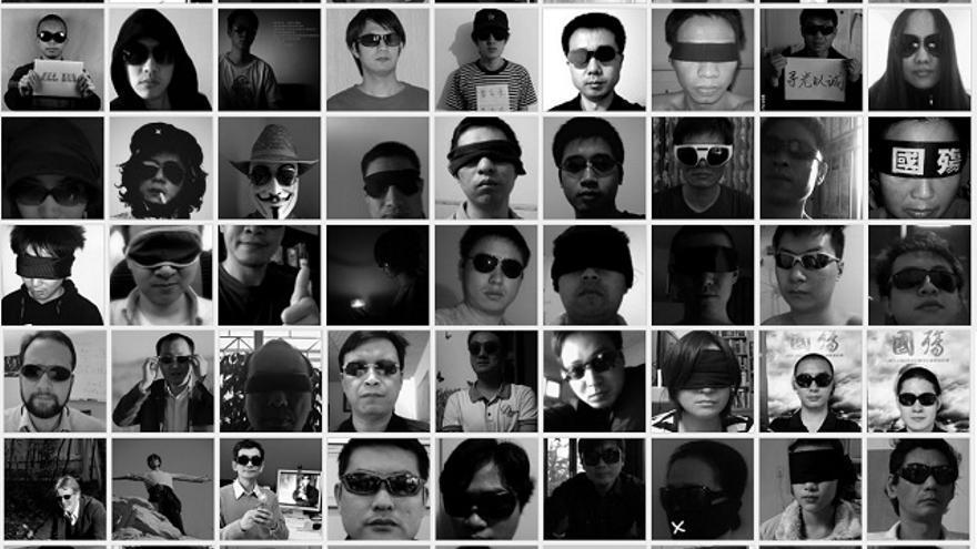 The Dark Glasses Portrait. Mural fotográfico de la campaña