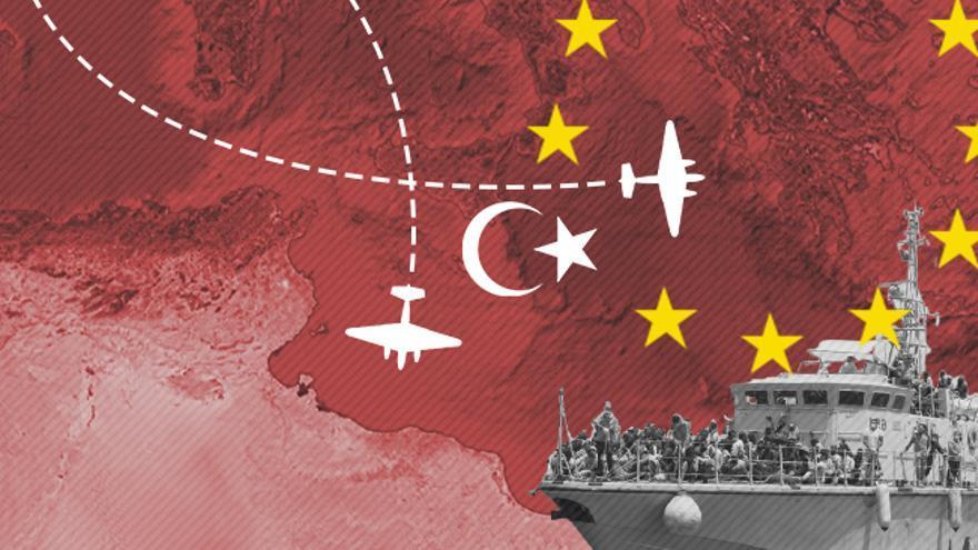 La operación europea Sophia colabora habitualmente con los guardacostas libios para interceptar migrantes.