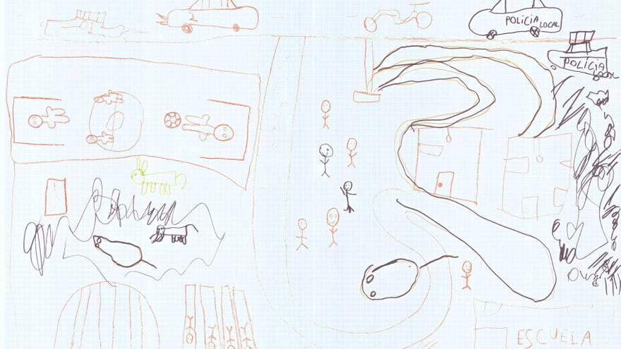 Dibujo realizado por niños de El Gallinero