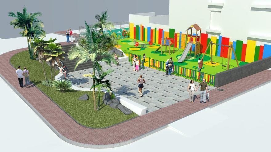 Infografía con el proyecto de plaza y zona infantil de juegos